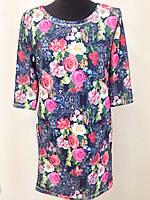 Жіноче плаття з трьохчетвертним рукавом квітковий принт