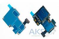 Шлейф Samsung i9500 Galaxy S4 с коннектором SIM карты, карты памяти