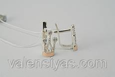 Серебряные серьги в форме короны с золотом и фианитами