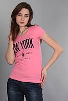 Стильная женская футболка (реплика) Polo ralph lauren розового цвета