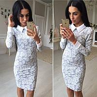 Нежное платье с воротничком и манжетами 3079