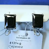 Серебряные серьги с черным камнем Ночь 4131ч g