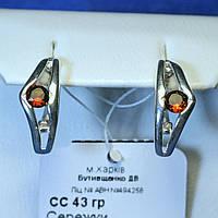 Серебряные сережки с камнем (имитация граната) сс43гр