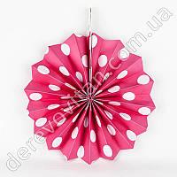 Подвесной веер, розовый в белый горох, 30 см - бумажный декор-розетка