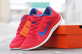Женские кроссовки Nike Free Run 4 0 красные с синим 1667