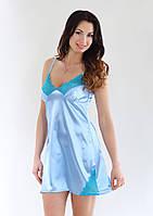 Рубашка ночная голубая атлас-стрейч, кружево-стрейч