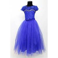 Платье детское праздничное синее  Лилия 6-8 лет