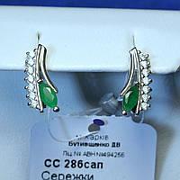 Серебряные сережки с зелеными камнями сс-286из