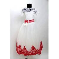 Платье детское Валерия красное (7-9 лет)