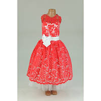 Платье нарядное Бархат коралловое 5-7 лет Dina42