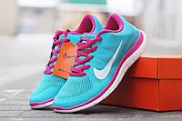 Женские кроссовки Nike Free Run 4 0 голубые с розовым 1666