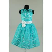 Платье нарядное Бархат бирюзовое 5-7 лет Dina35