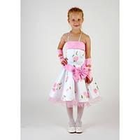 Платье белое с розовыми розами CK-2205 (5-7 лет)