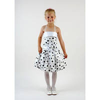 Платье белое в черный горох СК 220 (4-6 лет)