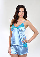 Пижама ночная голубая атлас-стрейч, кружево-стрейч