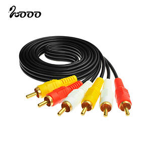 Аудіо-кабель 3RCA 1.5 M., фото 2