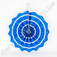 Подвесной веер, голубой с тонкой полосой, 30 см - бумажный декор-розетка