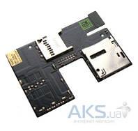 Шлейф для HTC Desire 300 / Desire 500 с коннектором SIM-карты и карты памяти Original