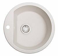 Круглая гранитная мойка с большой чашей светло-серая, фото 1