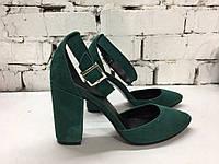 Стильные туфли в натуральной зелёной замше
