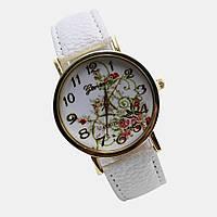 Женские часы с цветами Geneva Platinum (белые)