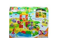 Детский конструктор Зоопарк 63 крупные детали с фигурками зверей и растений