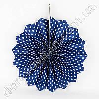Подвесной веер, темно-синий в мелкий горох, 20 см - бумажный декор-розетка