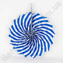 Подвесной веер, сине-белый, 20 см - бумажный декор-розетка