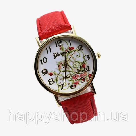 Женские часы с цветами Geneva Platinum (красные), фото 2