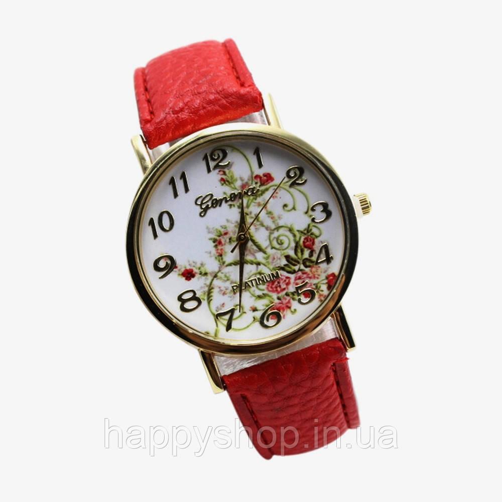 Женские часы с цветами Geneva Platinum (красные)