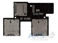 Шлейф для HTC Desire 700 Dual с коннектором SIM-карты и карты памяти Original