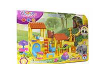 Детский конструктор Зоопарк 73 крупные детали с фигурками зверей и растений