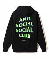 Худи Anti Social Social Club x RSVP Galler черное с логотипом, унисекс (мужское,женское,детское)