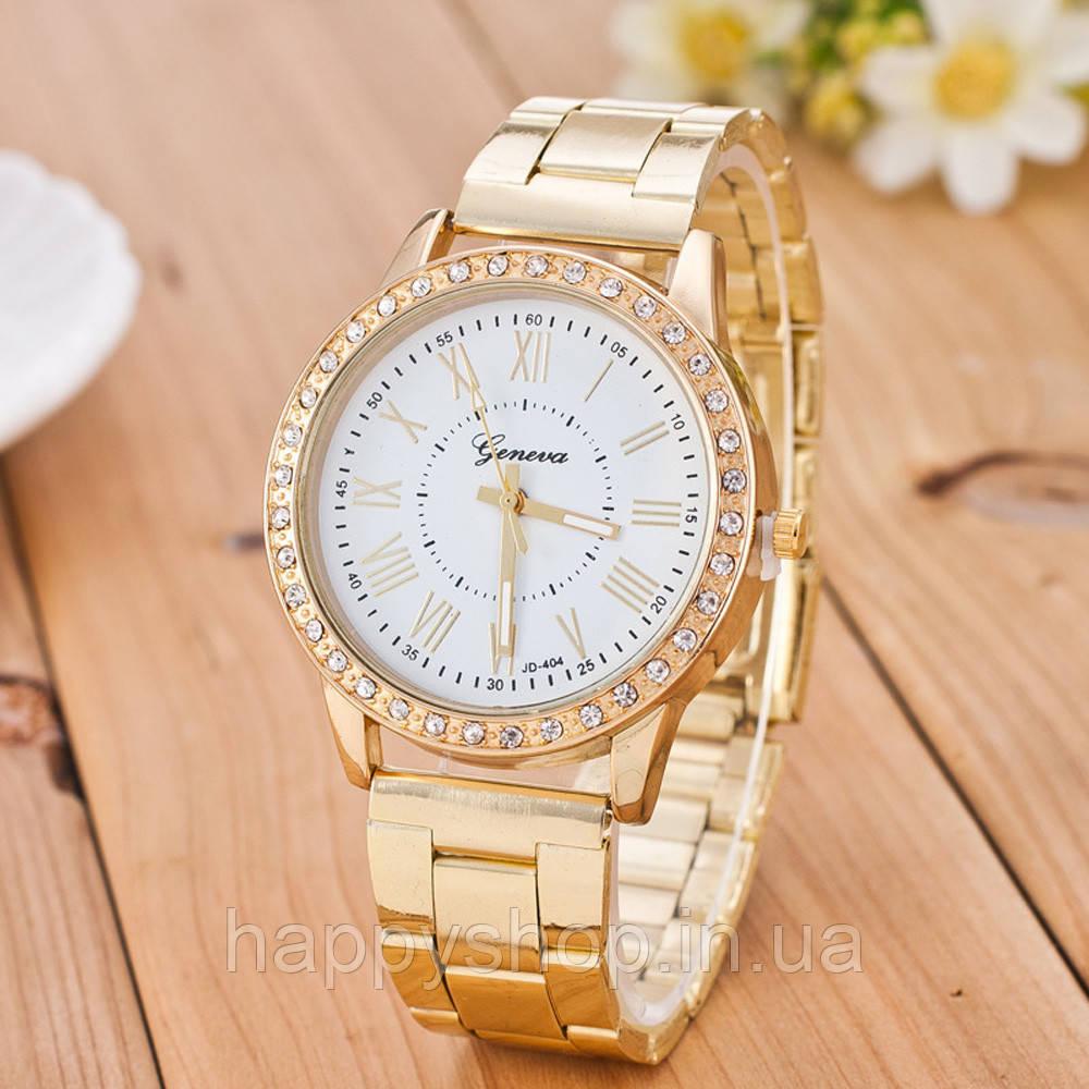 Часы женские на стальном браслете Geneva (White)