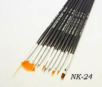 Набор кистей с черной ручкой 10 шт, набор кистей YRE NK-24