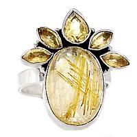 Рутил золотой волосатик и цитрин, серебро 925, кольцо, 305КР