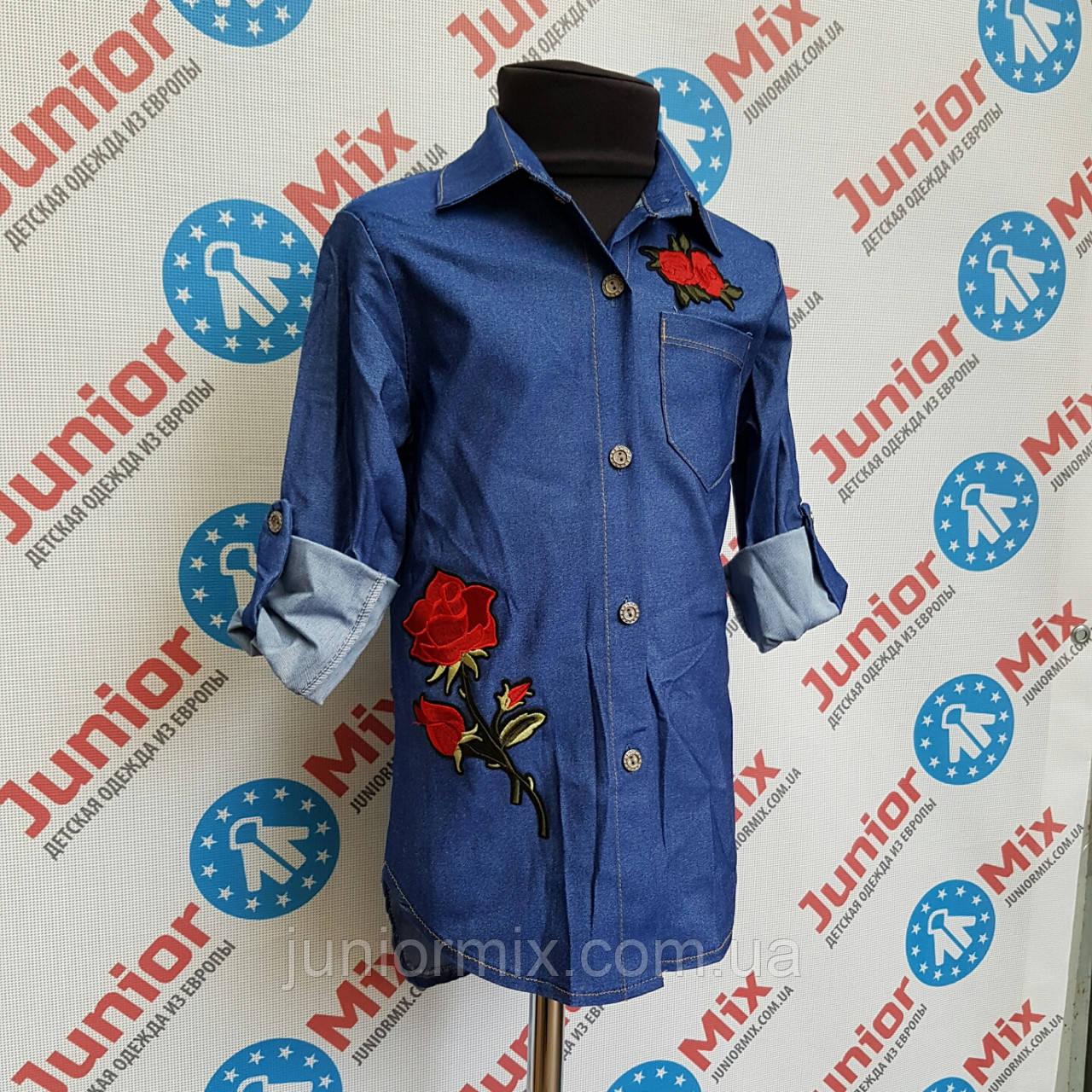e7fd7274947 Купить Рубашка джинсовая с вышитой розой на девочку ИТАЛИЯ в ...
