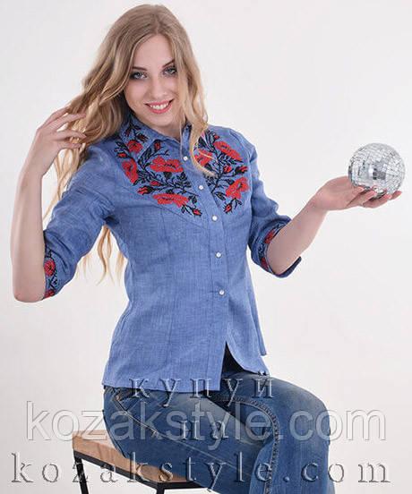 """Блузка жіноча вишита """"Макова грація"""" джинсова"""