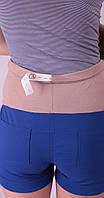 Шорты для беременных, бирюза и беж