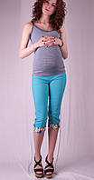 Бриджи для беременных с цветными вставками, бирюза и беж