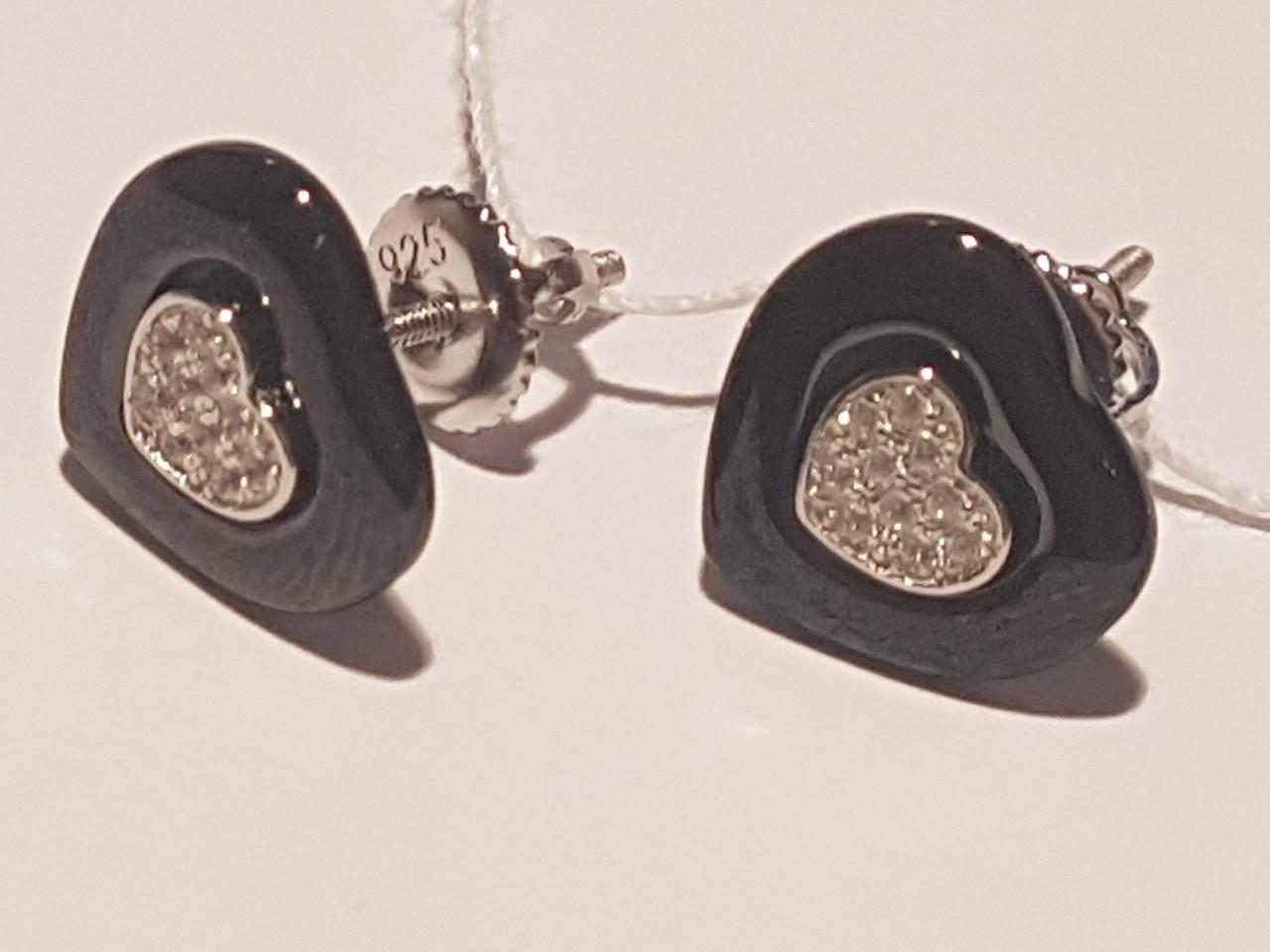 Серебряные серьги с керамикой. Артикул СК2ФК/1006