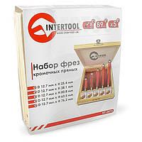 Набор фрез кромочных прямых в деревянном кейсе INTERTOOL HT-0076
