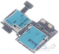 Шлейф для Samsung i9505 Galaxy S4 с коннектором Sim-карты и карты памяти