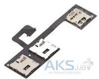 Шлейф для HTC One M7 802w Dual SIM с разъемом SIM-карты и карты памяти Original