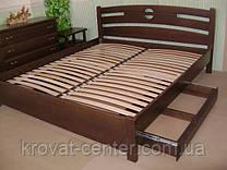"""Кровать """"Сакура"""" с ящиками на телескопических направляющих. Материал дерева - ольха, покрытие - """"лесной орех"""" (№ 44)."""