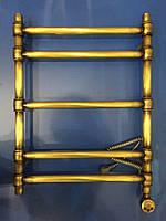 Бронзовый электрический полотенцесушитель в ретро стиле с ТЭНом Авантаж 05П 500*700