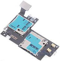 Шлейф для Samsung N7105 Note 2 с коннектором Sim-карты и карты памяти
