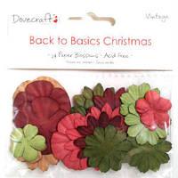 Набор бумажных цветов Back to Basics Christmas Vintage , 24 шт.
