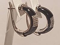 Серебряные серьги с керамикой. Артикул СК2ФК/1007
