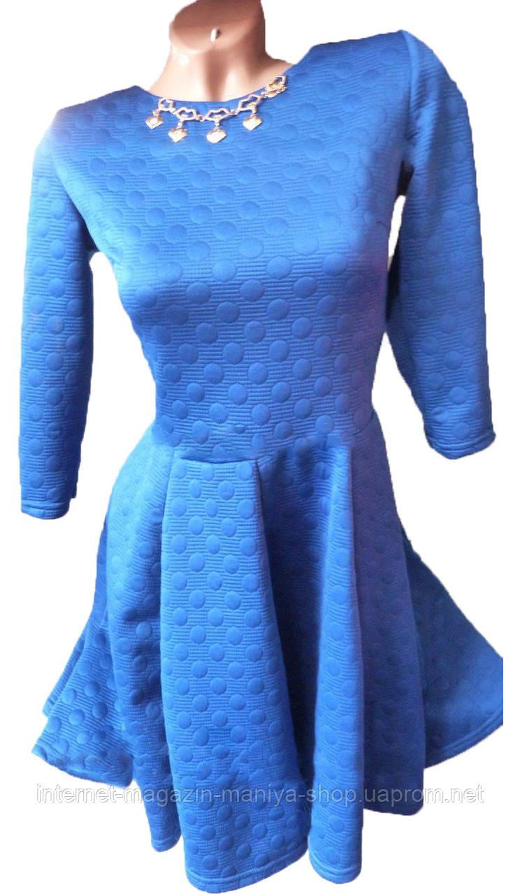 Платье женское 0582 горох с украшением (деми)